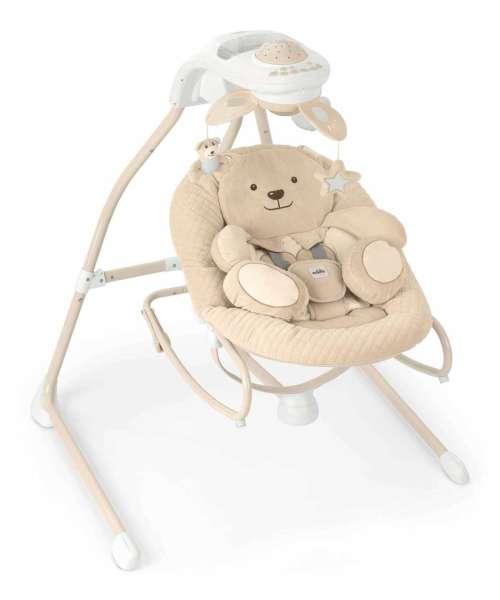 Babywippe Gironanna Evo Motiv Bärchen elektrisch mit vielen Funktionen weich gepolstert von der italienischen Marke Cam il mondo del bambino