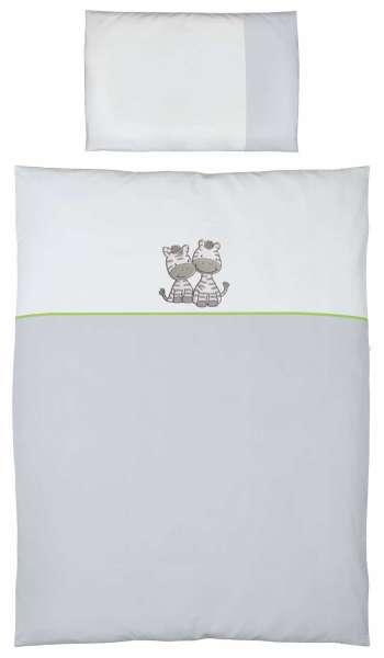 2-teiliges Kinderbettwäscheset grau Motiv Zebra Ökotex zertifiziert modernes Design von der Marke Ceba