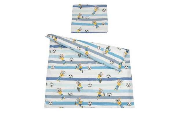 Kinderbettwäsche blau mit dem Charakter Ed der Fußballer aus dem Freizeitpark Europa-Park