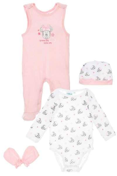 Baby-Set bestehend aus Body Strampler Mützchen und Handschuhen mit dem Motiv Minnie Mouse von Disney