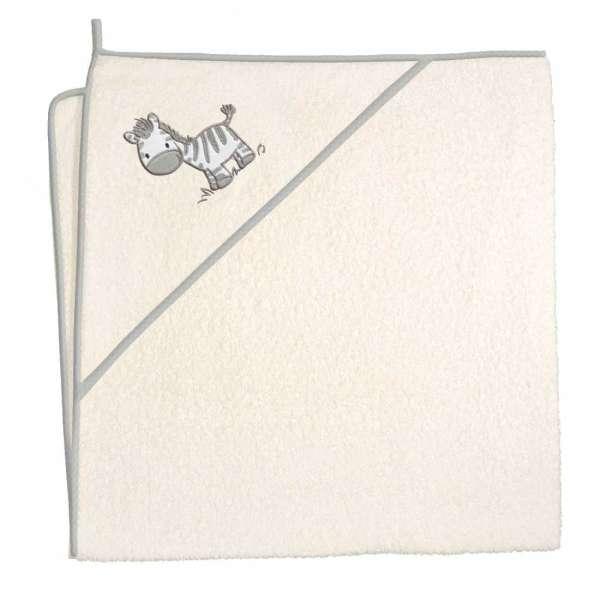 Kapuzen-Badetuch beige Motiv Zebra Ökotex zertifiziert zum behutsamen abtrocknen und einkuscheln nach dem Bad von der Marke Ceba